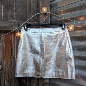 Silver metallic faux leather mini skirt